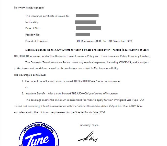 Luma Thailand Pass - Sample Certificate